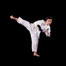 Taekwond helps me to defend myself. Taekwondo helps me with my leg stretches and it helps me with soccer. I also love to play soccer and football.
